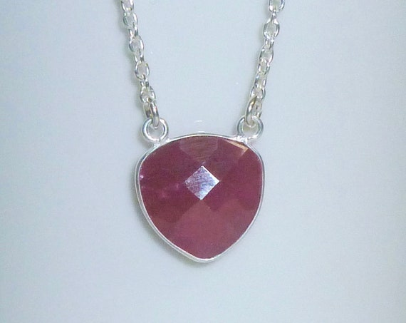 Trillion Shaped Natural Ruby Gemstone Necklace