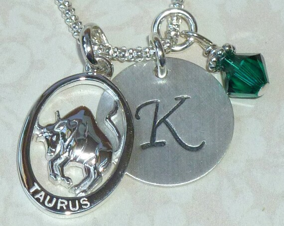 Personalized Taurus Zodiac Hand Stamped Sterling Silver Initial Charm Necklace