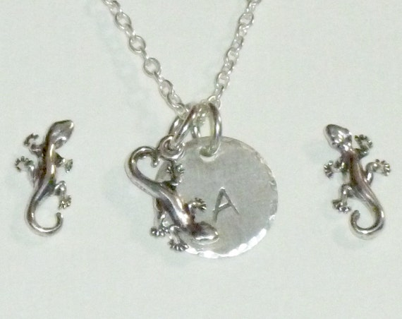 Personalized Gecko Hand Stamped Sterling Silver Petite Initial Charm Necklace and Earring Jewelry Set