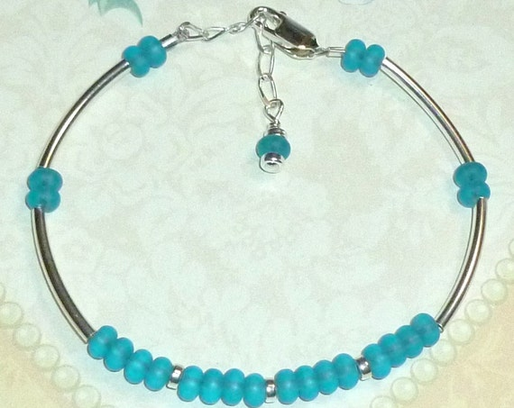 Beaded Recycled Sea Glass Rondelle and Sterling Silver Adjustable Curved Tube Stacking Bracelet, 7 Colors Available