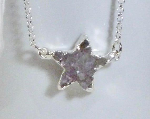 Sterling Silver Druzy Quartz Celestial Star Pendant Necklace