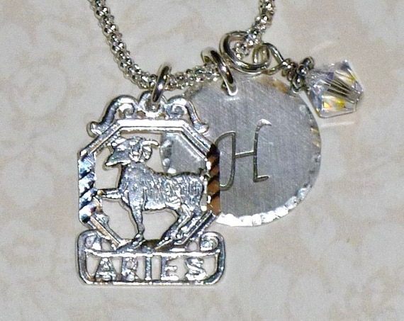 Aries The Ram Zodiac Hand Stamped Sterling Silver Initial Charm Necklace