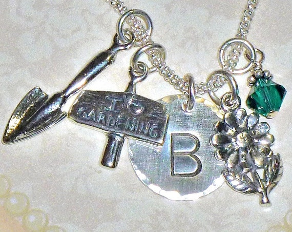 Personalized I Love Gardening Hand Stamped Sterling Silver Initial Charm Necklace