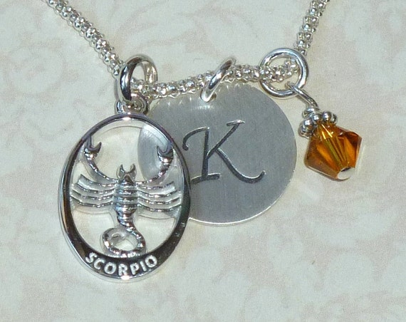 Personalized Scorpio Zodiac Hand Stamped Sterling Silver Initial Charm Necklace