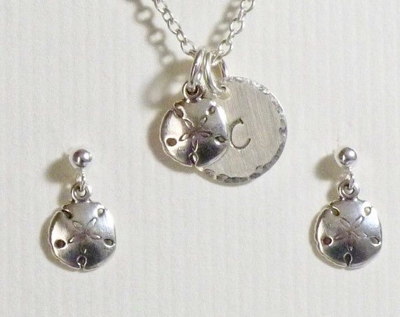 "Sand Dollar Hand Stamped Sterling Silver Petite 1/2"" Initial Charm Necklace and Post Earring Jewelry Set"