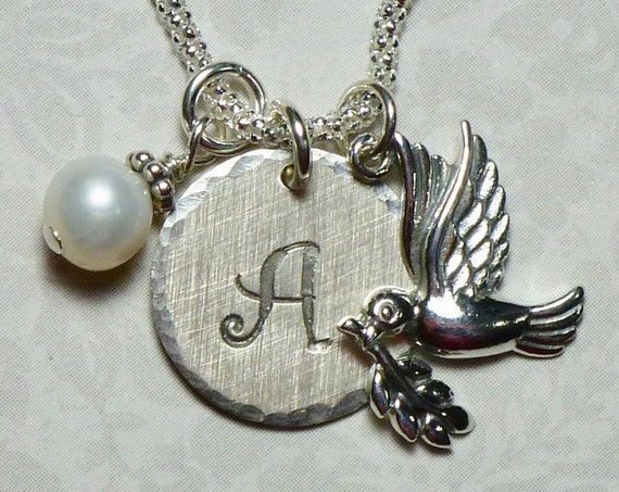Personalized Dove with Olive Branch Hand Stamped Sterling Silver Initial Charm Necklace