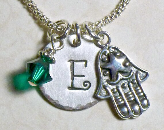 Personalized Hamsa Hand Stamped Sterling Silver Initial Charm Necklace
