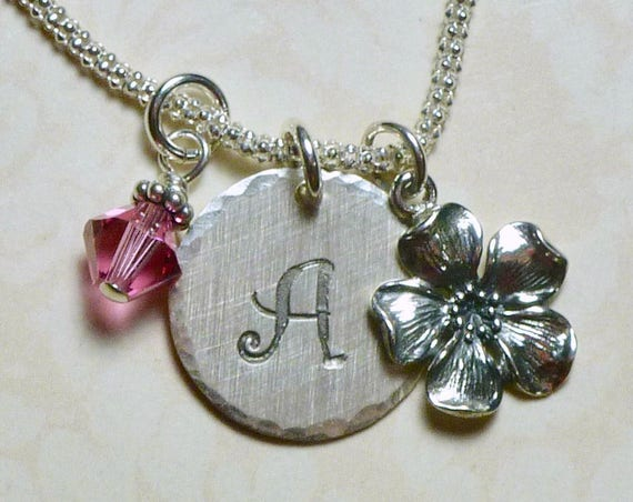 Cherry Blossom Hand Stamped Sterling Silver Initial Charm Necklace