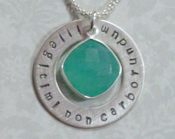 "Illegitimi Non Carborundum Latin phrase ""Don't let the bastards grind you down"" Washer Necklace with Aqua Chalcedony Gemstone"