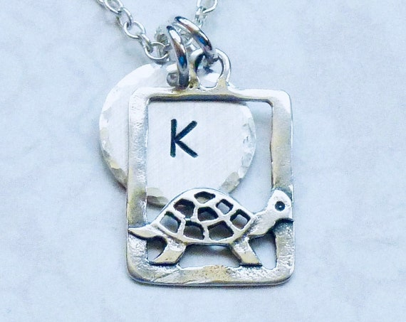 Personalized Turtle Hand Stamped Sterling Silver Petite Initial Charm Necklace