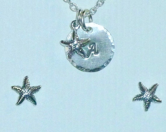 Personalized Starfish Hand Stamped Sterling Silver Petite Initial Charm Necklace and Earring Set
