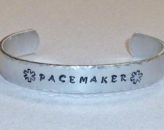 Pacemaker Medical Alert Hand Stamped Aluminum Cuff Bracelet