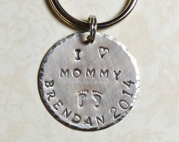 Personalized I love Mommy Hand Stamped Keychain with little Baby Feet