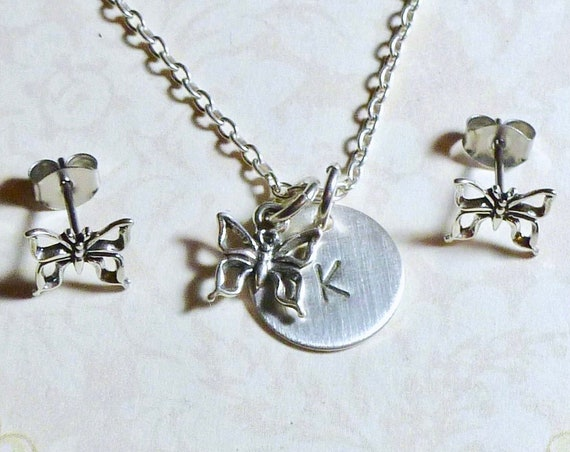 Personalized Butterfly Hand Stamped Sterling Silver Petite Initial Charm Necklace and Earring Jewelry Set