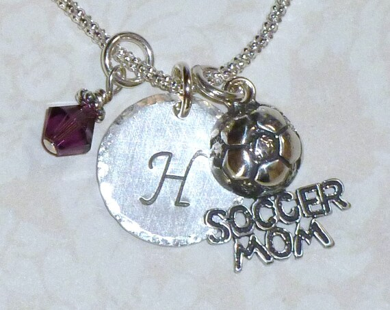 Personalized Soccer Mom Hand Stamped Sterling Silver Initial Charm Necklace