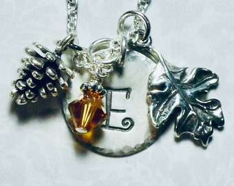 Pine Cone and Oak Leaf Hand Stamped Sterling Silver Initial Charm Necklace, Personalized Autumn Jewelry