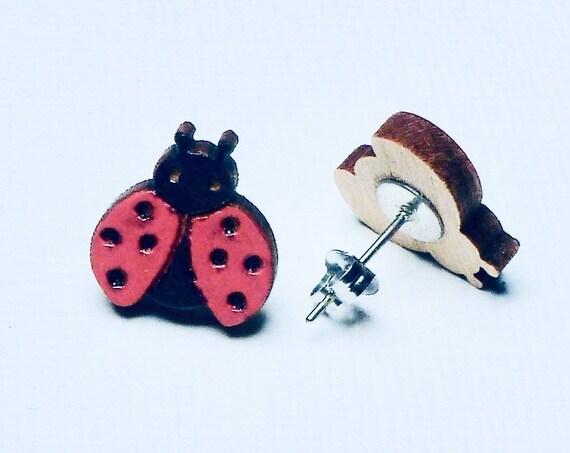 Hand Painted Laser Cut Wood Ladybug Stud Earrings