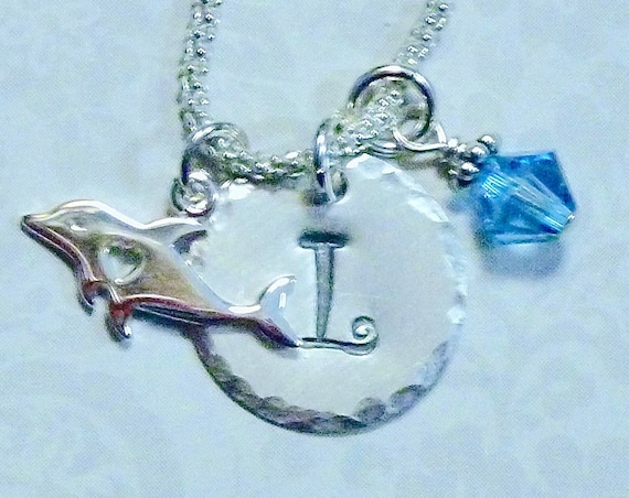 Personalized Dolphin Lover Hand Stamped Sterling Silver Initial Charm Necklace
