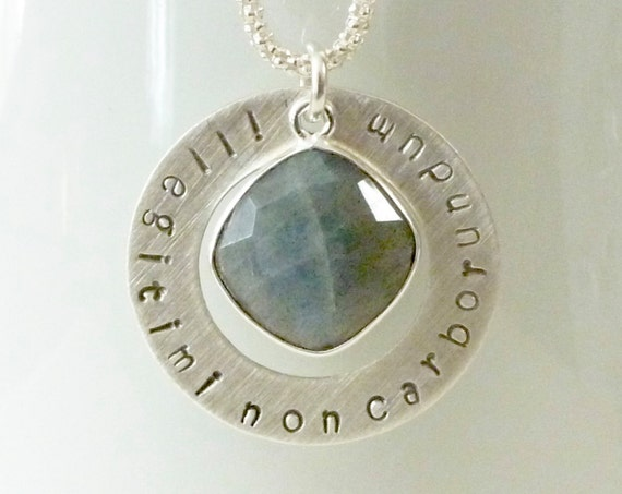 Illegitimi Non Carborundum Latin Phrase Don't Let The Bastards Grind You Down Washer Necklace with Labradorite Gemstone