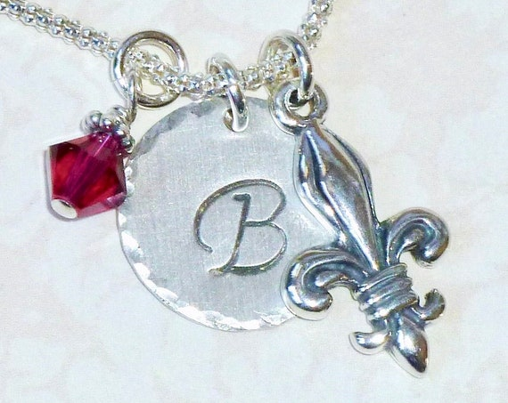 Personalized Fancy Fleur De Lis Hand Stamped Sterling Silver Initial Charm Necklace