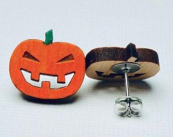 Jack-O-Lantern Pumpkin Hand Painted Laser Cut Wooden Stud Earrings