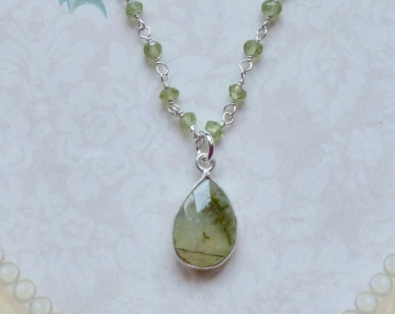 Prehnite and Peridot Gemstone Sterling Silver Rosary Chain Necklace