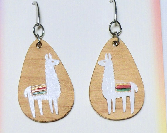 Hand Painted Laser Cut Wood Teardrop Llama Earrings