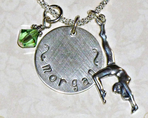 Personalized Gymnastics Hand Stamped Sterling Silver Charm Necklace