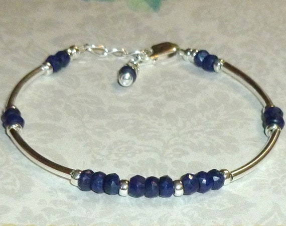 Beaded Blue Sapphire Gemstone Rondelle and Sterling Silver Adjustable Curved Tube Bracelet
