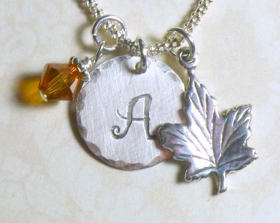 Personalized Autumn Maple Leaf Hand Stamped Sterling Silver Initial Charm Necklace
