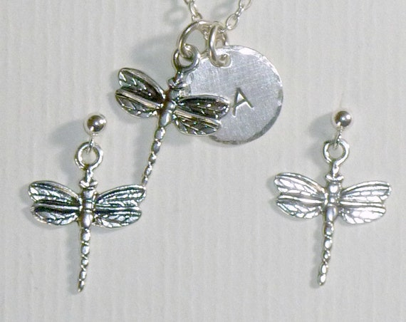 Personalized Dragonfly Hand Stamped Sterling Silver Petite Initial Charm Necklace and Earring Set