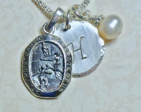 Personalized Volleyball Player Protect Us St Christopher Medal Sterling Silver Pendant Charm Necklace
