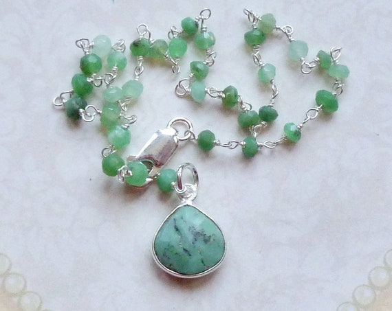 Green Chrysoprase Gemstone and Sterling Silver Rosary Chain Ankle Bracelet