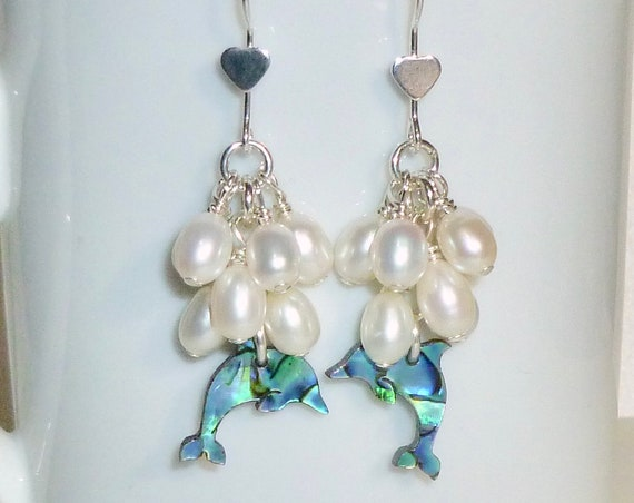 Sterling Silver Dolphin Paua Shell and Cluster Pearl Earrings