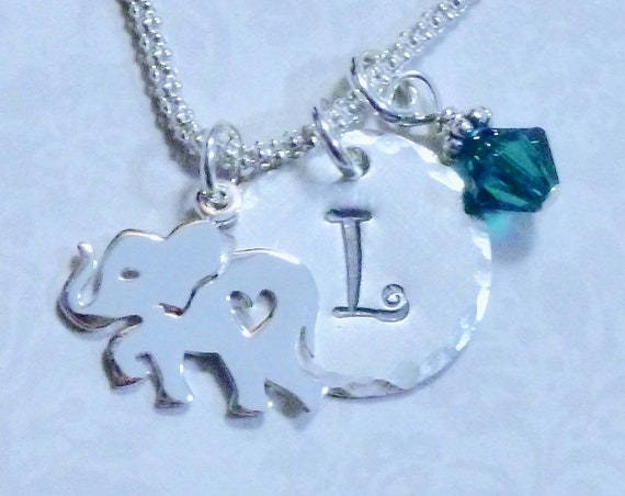 Personalized Elephant Lover Hand Stamped Sterling Silver Initial Charm Necklace