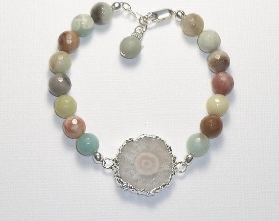 White Solar Quartz Stalactite Adjustable Beaded Green Faceted Amazonite Gemstone Sterling Silver Bracelet