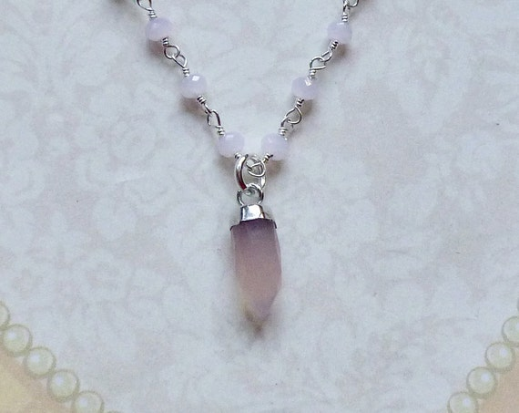 Tiny Rose Quartz Spike Pendant Sterling Silver Rosary Chain Layering Necklace