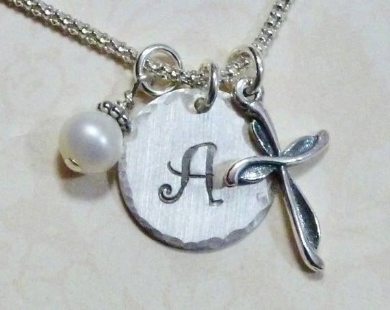 Personalized Cross Hand Stamped Sterling Silver Initial Charm Necklace