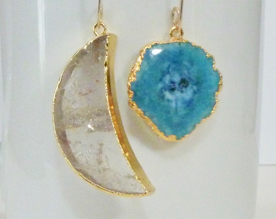 Mismatched Celestial Crystal Quartz Moon and Blue Solar Druzy Earrings