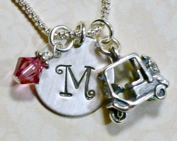 Personalized Golf Cart Hand Stamped Sterling Silver Initial Charm Necklace