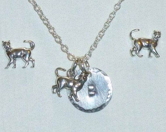 Personalized Cat Hand Stamped Sterling Silver Petite Initial Charm Necklace and Earring Jewelry Set