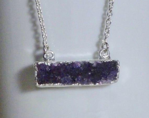 Sterling Silver Druzy Quartz Bar Necklace - You Choose Color