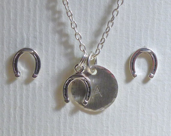 Personalized Equestrian Horseshoe Hand Stamped Sterling Silver Petite Initial Charm Necklace & Earring Set