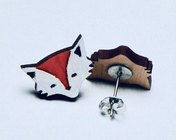 Hand Painted Laser Cut Wood Fox Stud Earrings