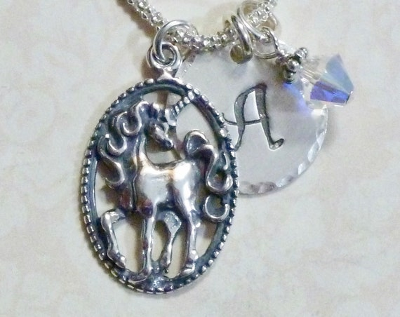 Personalized Unicorn Hand Stamped Sterling Silver Initial Charm Necklace