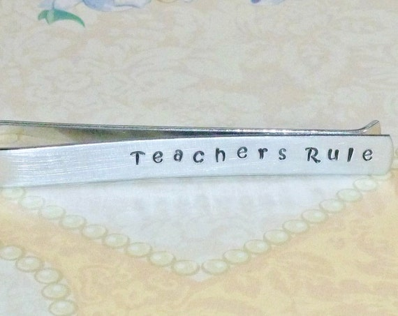 Mens Teachers Rule Hand Stamped Aluminum Tie Bar Tie Clip