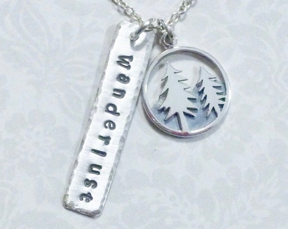 Wanderlust Mountain Pine Trees Hand Stamped Sterling Silver Charm Necklace