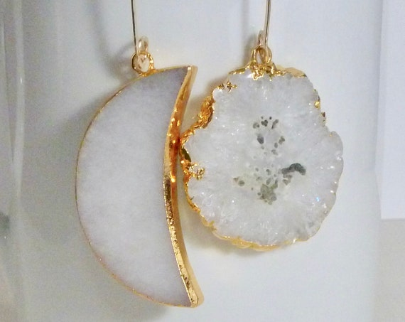 Mismatched Celestial White Agate Moon and Solar Druzy Quartz Earrings