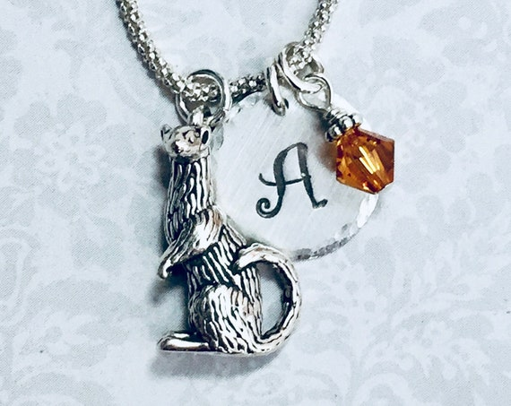 Personalized Ferret Hand Stamped Sterling Silver Initial Charm Necklace