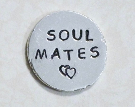 Soul Mates Hand Stamped Pewter Pocket Love Token Keepsake